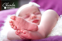 Newborn baby photography showing feet in focus and face out of focus.  Shot in Chumba newborn studio Baston, rutland